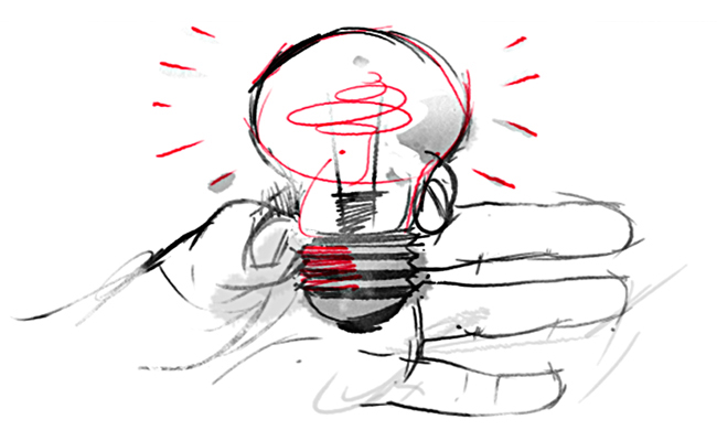 Illustration of a lightbulb symbolizes innovation